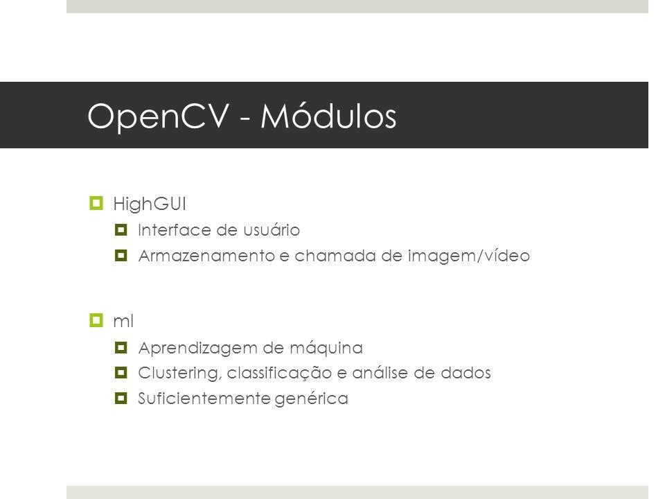 OpenCV - Módulos HighGUI ml Interface de usuário