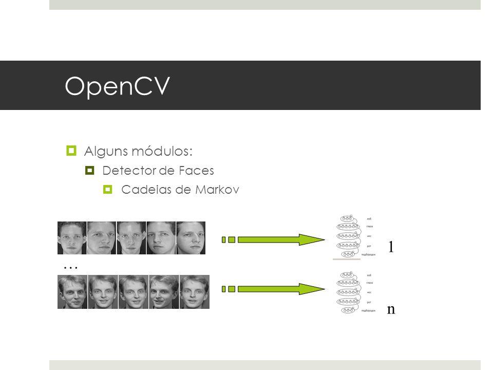 OpenCV Alguns módulos: Detector de Faces Cadeias de Markov 1 … n