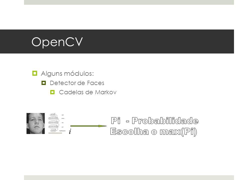 OpenCV i Alguns módulos: Pi - Probabilidade Escolha o max(Pi)