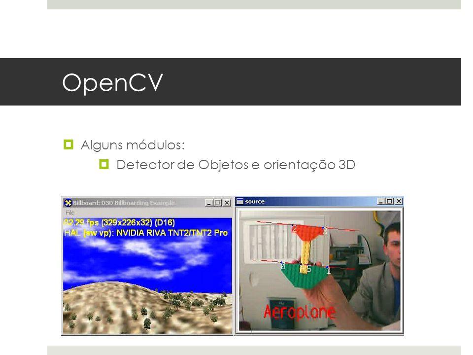 OpenCV Alguns módulos: Detector de Objetos e orientação 3D