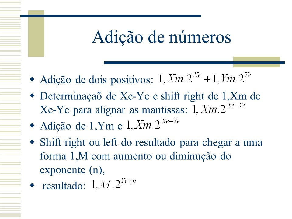 Adição de números Adição de dois positivos: