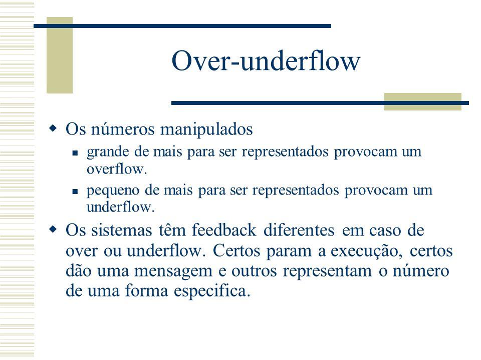 Over-underflow Os números manipulados