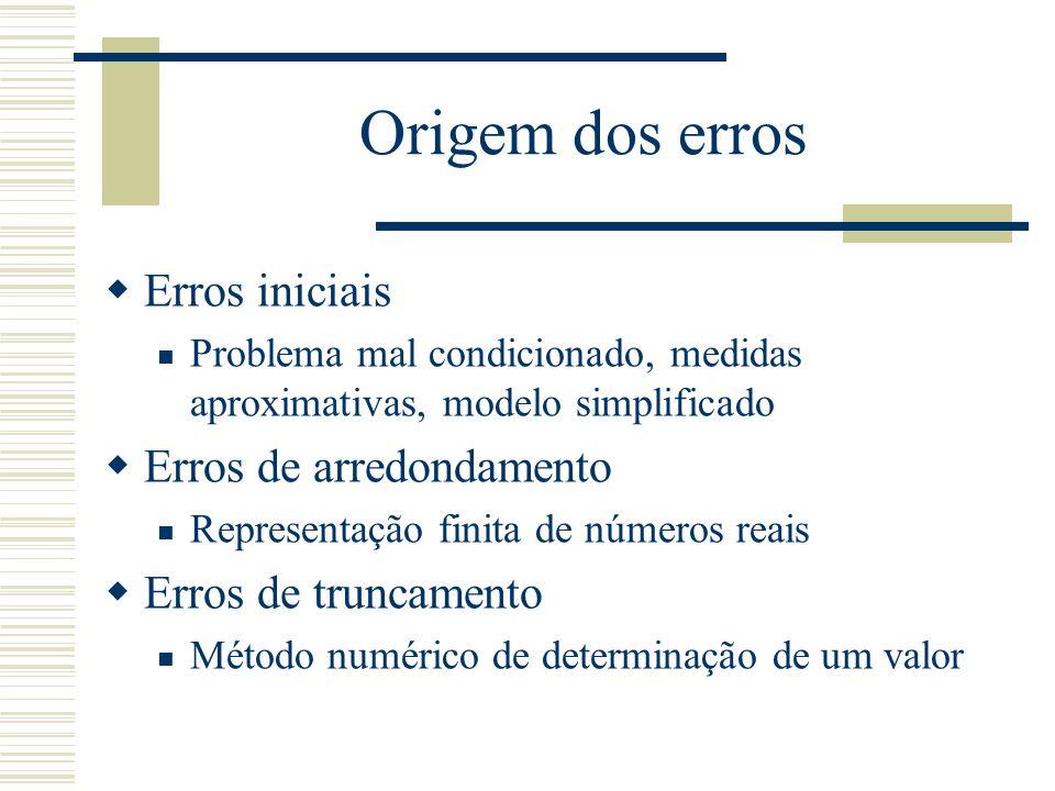 Origem dos erros Erros iniciais Erros de arredondamento