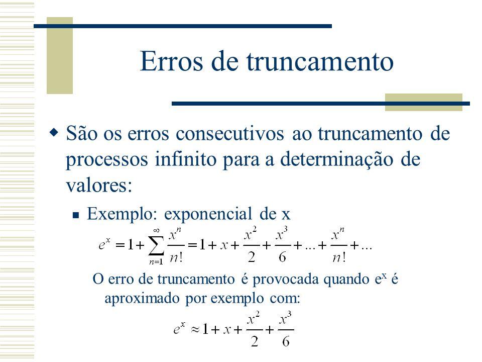 Erros de truncamento São os erros consecutivos ao truncamento de processos infinito para a determinação de valores:
