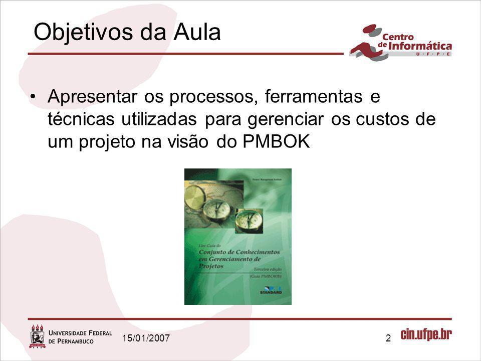 Objetivos da Aula Apresentar os processos, ferramentas e técnicas utilizadas para gerenciar os custos de um projeto na visão do PMBOK.