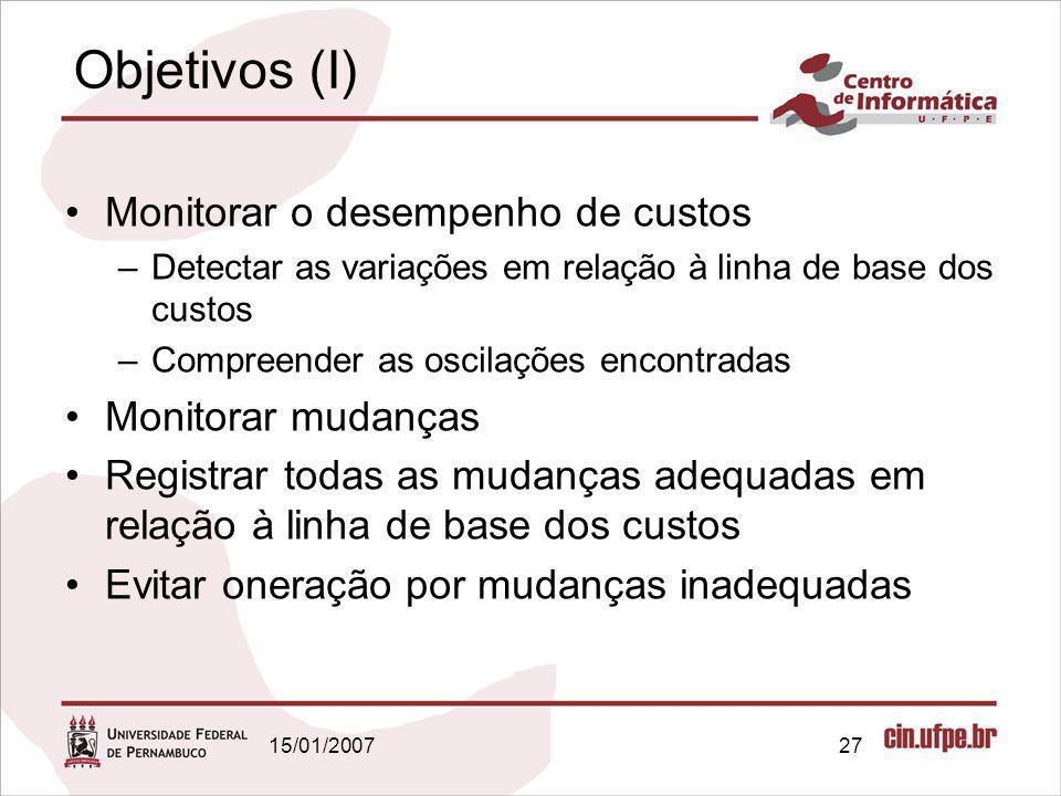 Objetivos (I) Monitorar o desempenho de custos Monitorar mudanças
