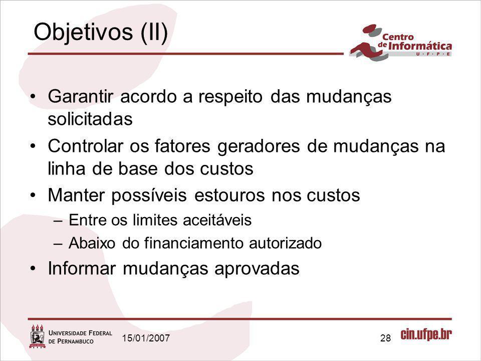 Objetivos (II) Garantir acordo a respeito das mudanças solicitadas