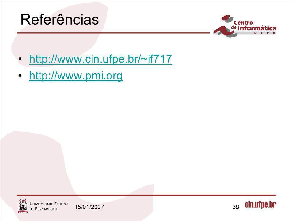 Referências http://www.cin.ufpe.br/~if717 http://www.pmi.org