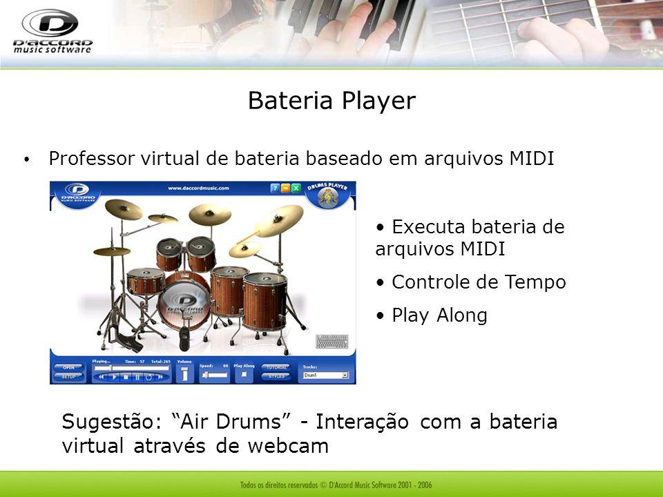 Bateria Player Professor virtual de bateria baseado em arquivos MIDI. Executa bateria de arquivos MIDI.
