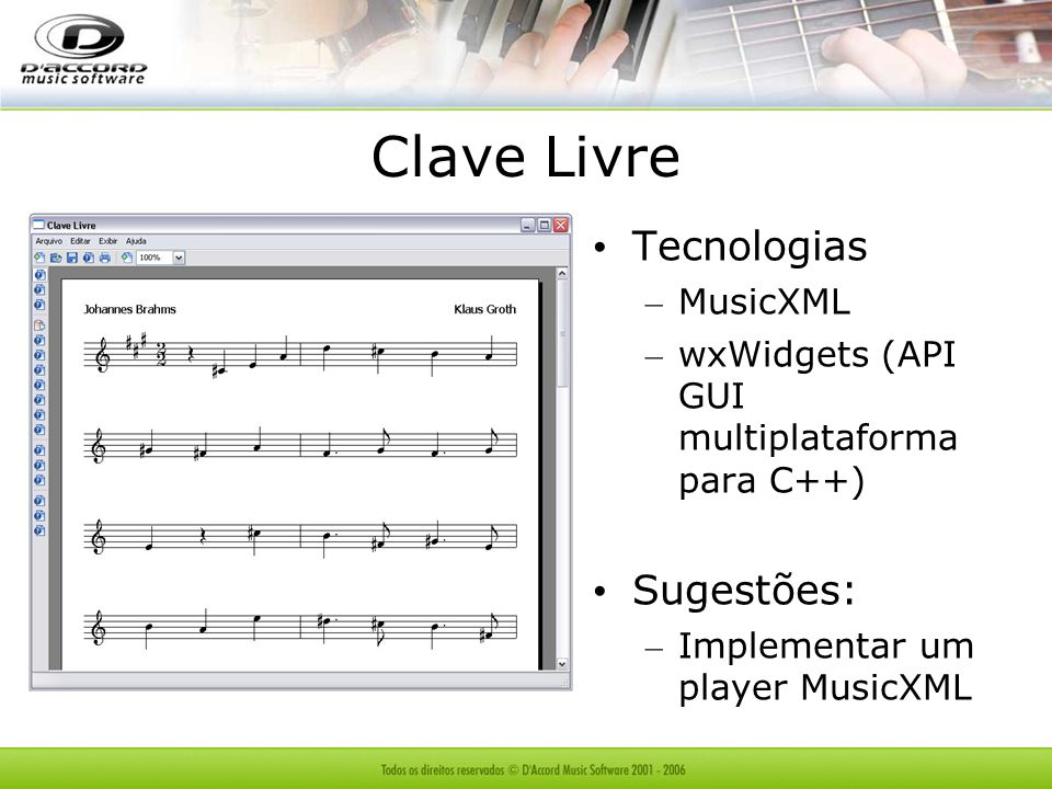 Clave Livre Tecnologias Sugestões: MusicXML