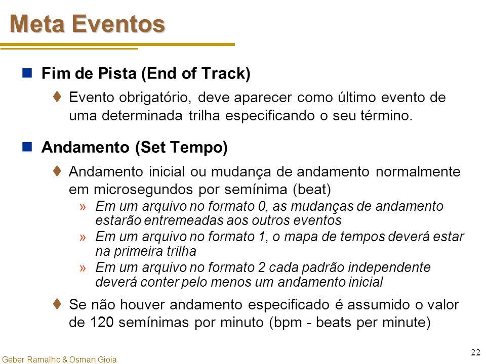 Meta Eventos Fim de Pista (End of Track) Andamento (Set Tempo)