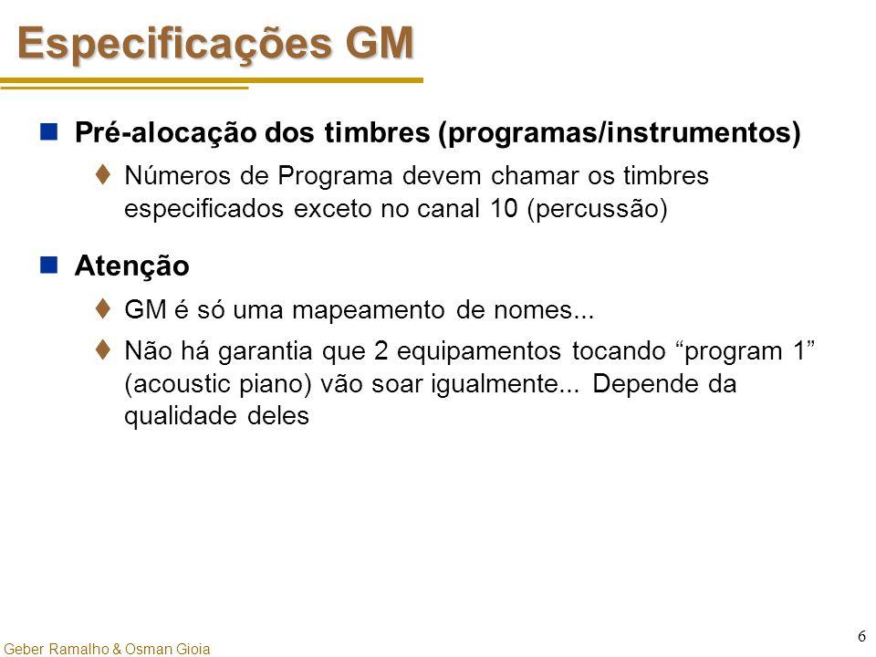 Especificações GM Pré-alocação dos timbres (programas/instrumentos)