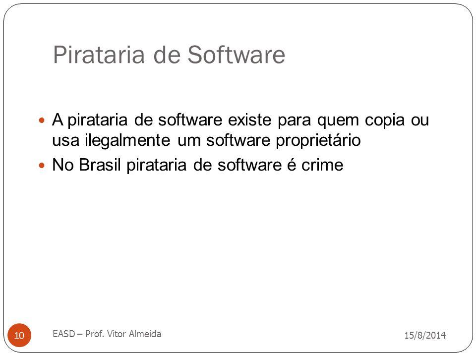 Pirataria de Software A pirataria de software existe para quem copia ou usa ilegalmente um software proprietário.