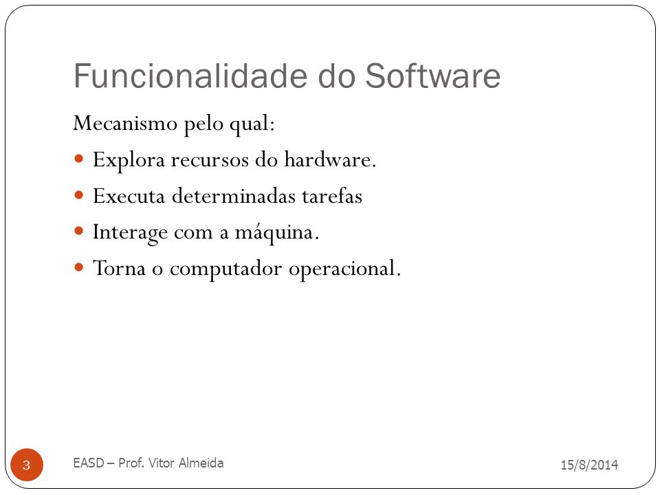 Funcionalidade do Software