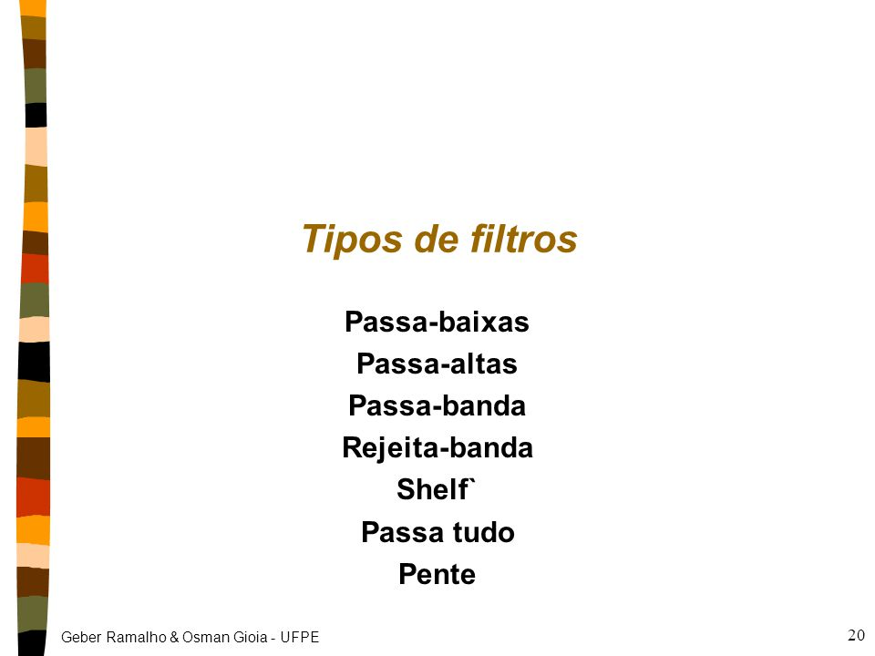 Tipos de filtros Passa-baixas Passa-altas Passa-banda Rejeita-banda