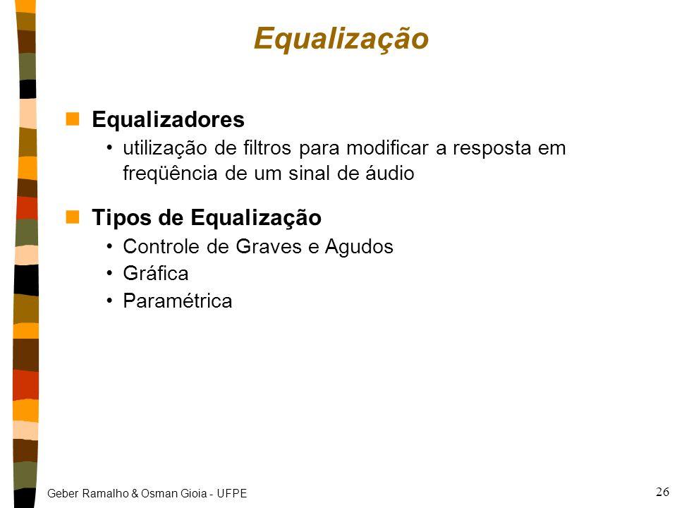 Equalização Equalizadores Tipos de Equalização