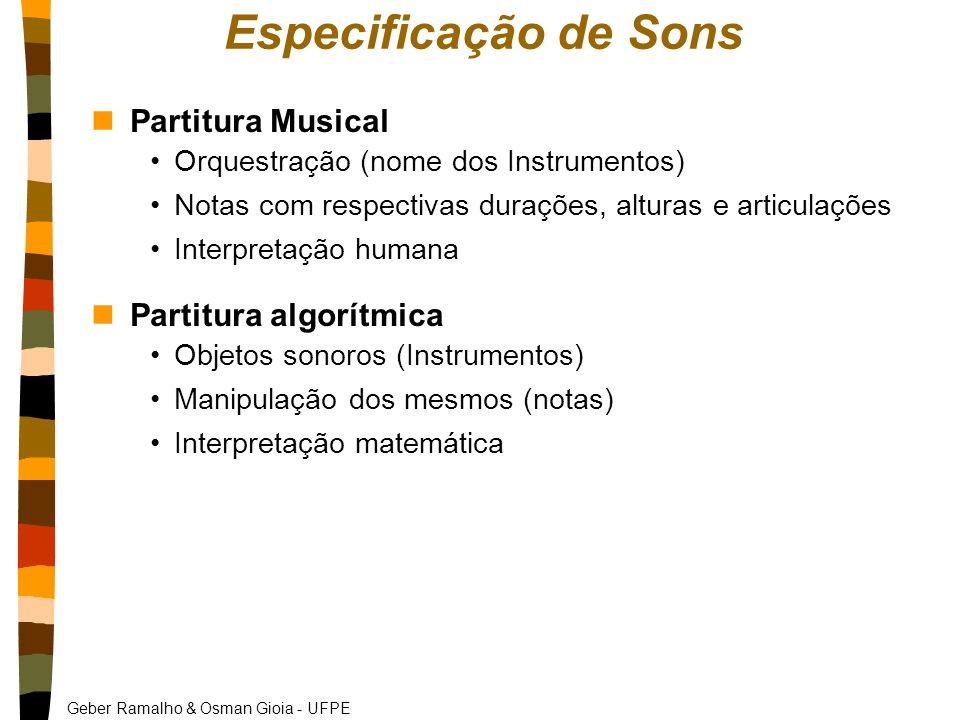 Especificação de Sons Partitura Musical Partitura algorítmica