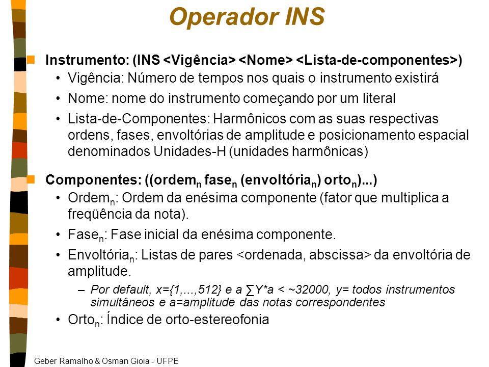 Operador INS Instrumento: (INS <Vigência> <Nome> <Lista-de-componentes>) Vigência: Número de tempos nos quais o instrumento existirá.