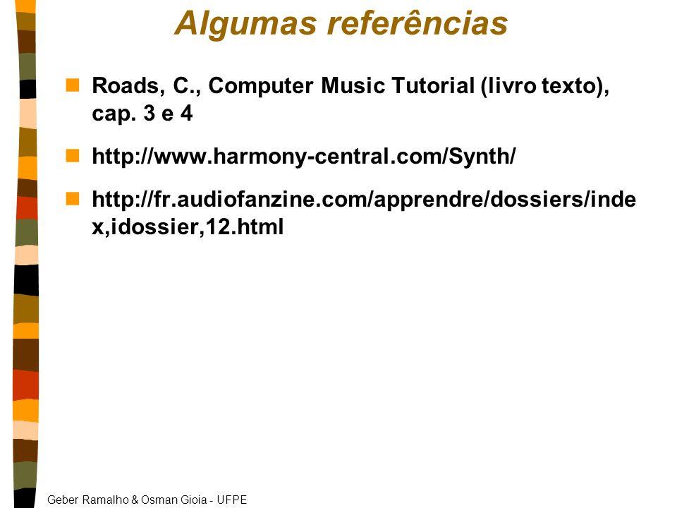 Algumas referências Roads, C., Computer Music Tutorial (livro texto), cap. 3 e 4. http://www.harmony-central.com/Synth/
