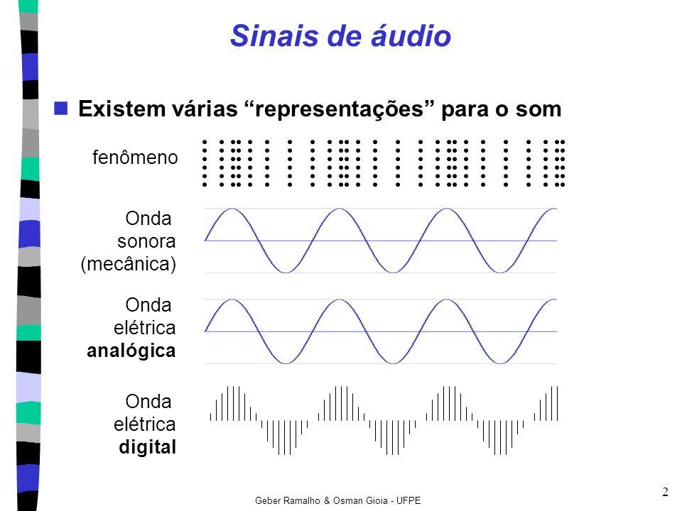 Sinais de áudio Existem várias representações para o som fenômeno