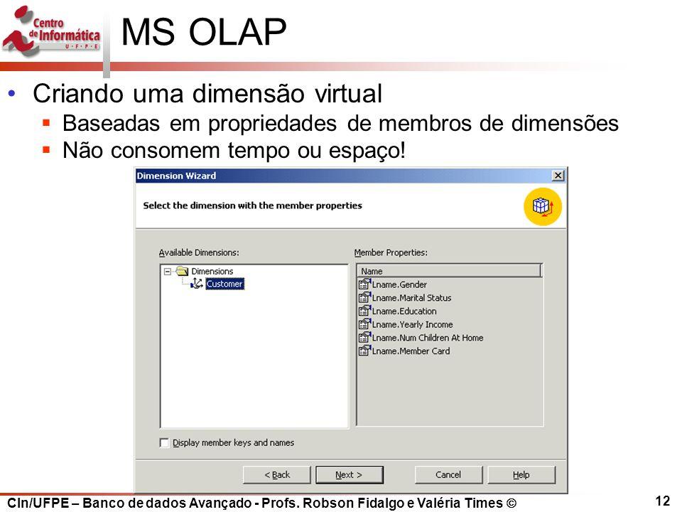 MS OLAP Criando uma dimensão virtual
