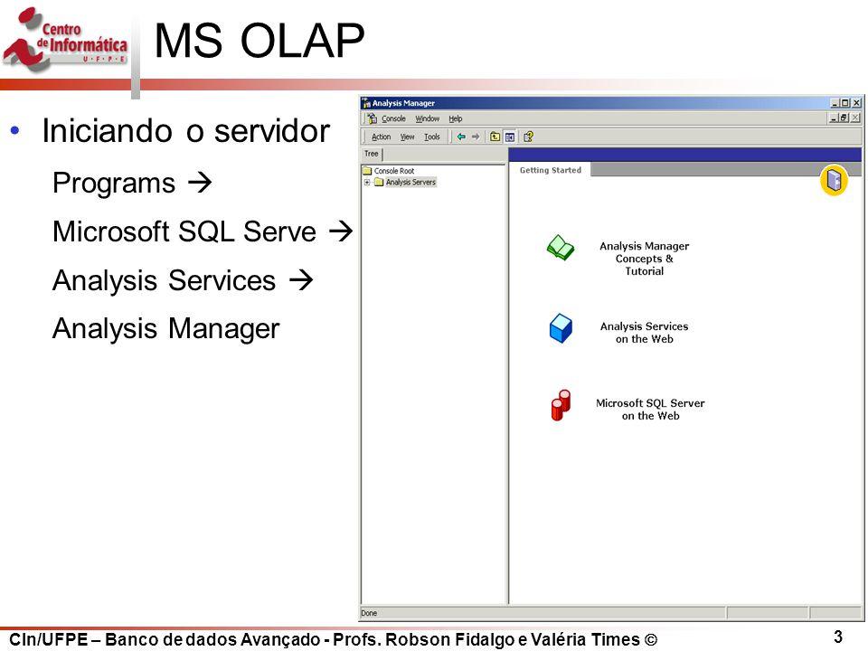 MS OLAP Iniciando o servidor Programs  Microsoft SQL Serve 
