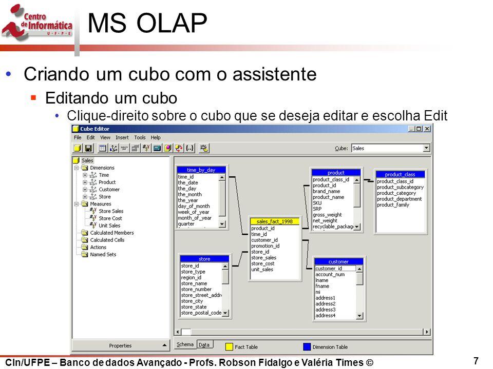 MS OLAP Criando um cubo com o assistente Editando um cubo