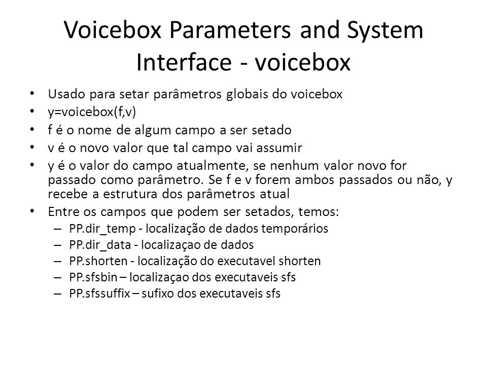 Voicebox Parameters and System Interface - voicebox