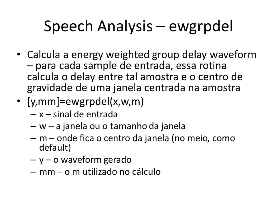 Speech Analysis – ewgrpdel