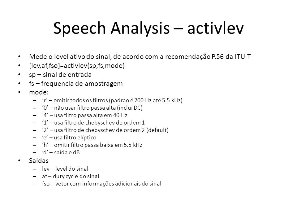 Speech Analysis – activlev