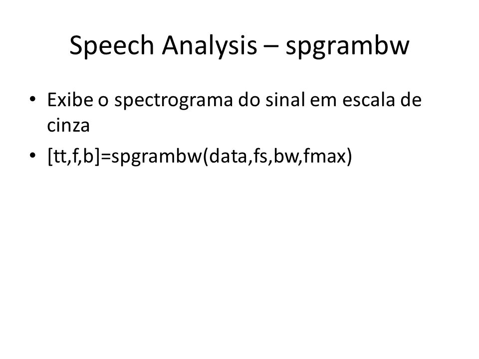Speech Analysis – spgrambw