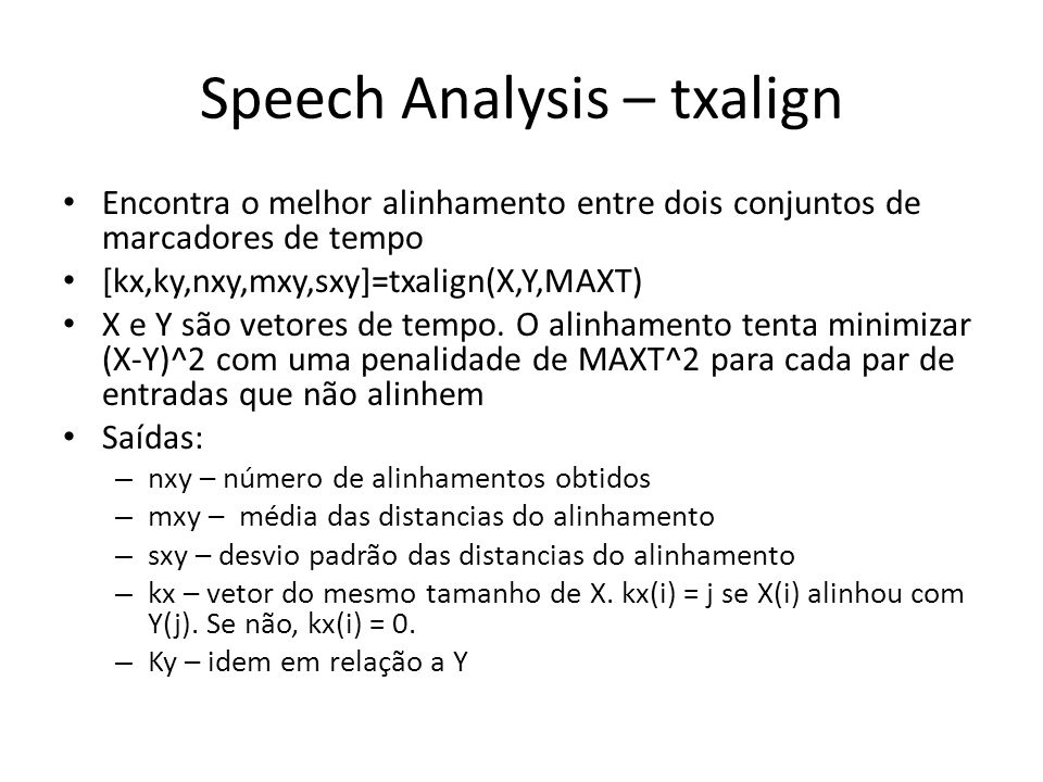 Speech Analysis – txalign