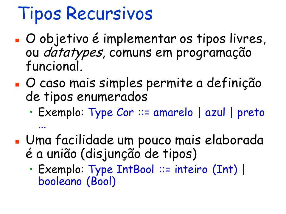 Tipos Recursivos O objetivo é implementar os tipos livres, ou datatypes, comuns em programação funcional.
