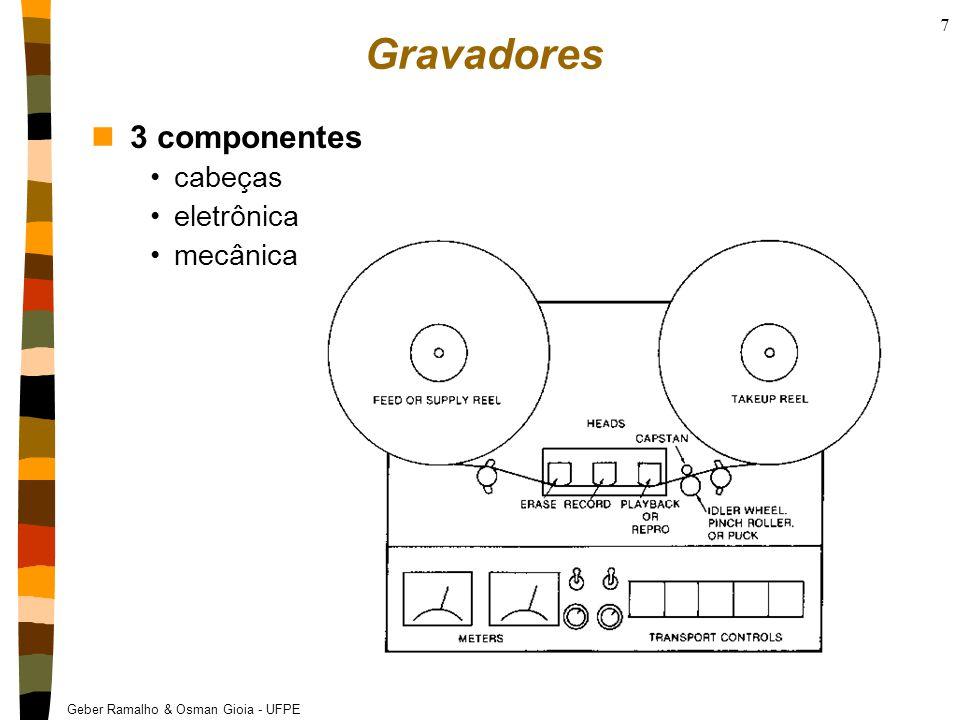 Gravadores 3 componentes cabeças eletrônica mecânica