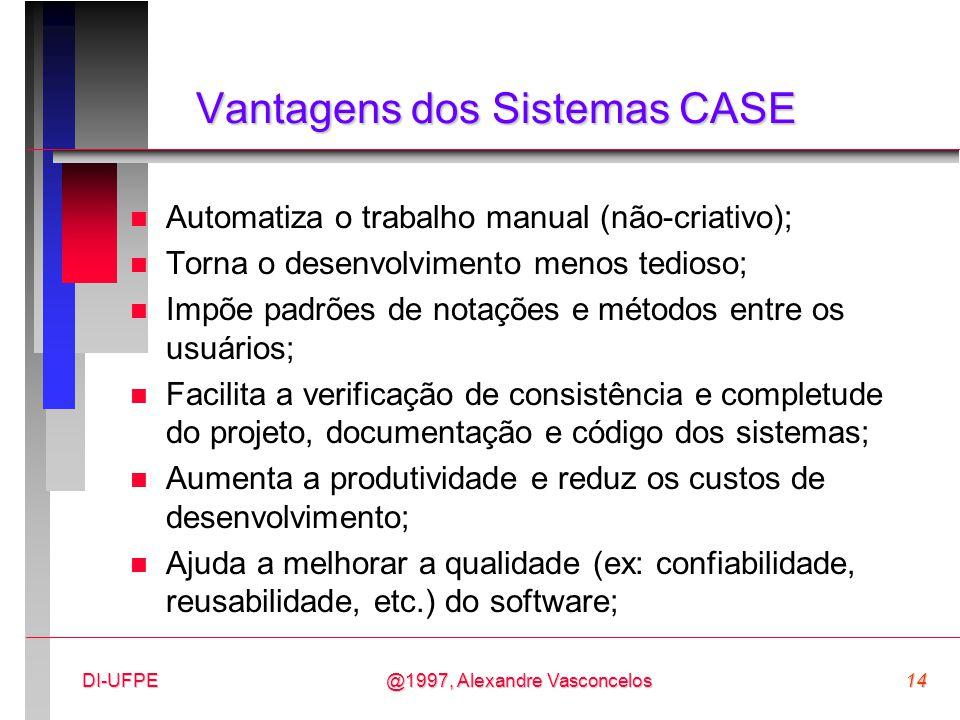 Vantagens dos Sistemas CASE