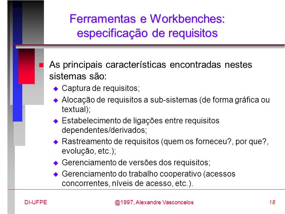 Ferramentas e Workbenches: especificação de requisitos