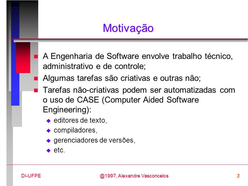 Motivação A Engenharia de Software envolve trabalho técnico, administrativo e de controle; Algumas tarefas são criativas e outras não;