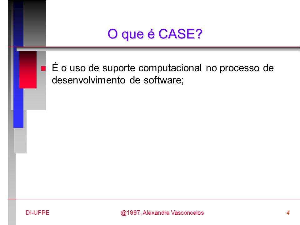 O que é CASE É o uso de suporte computacional no processo de desenvolvimento de software; DI-UFPE.