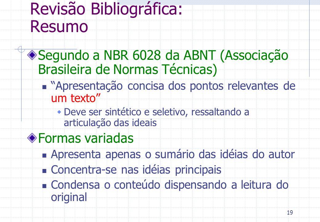 Revisão Bibliográfica: Resumo
