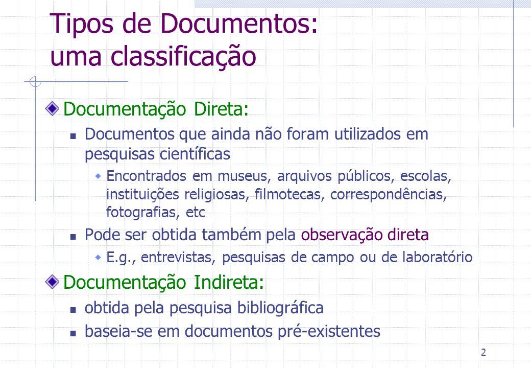 Tipos de Documentos: uma classificação