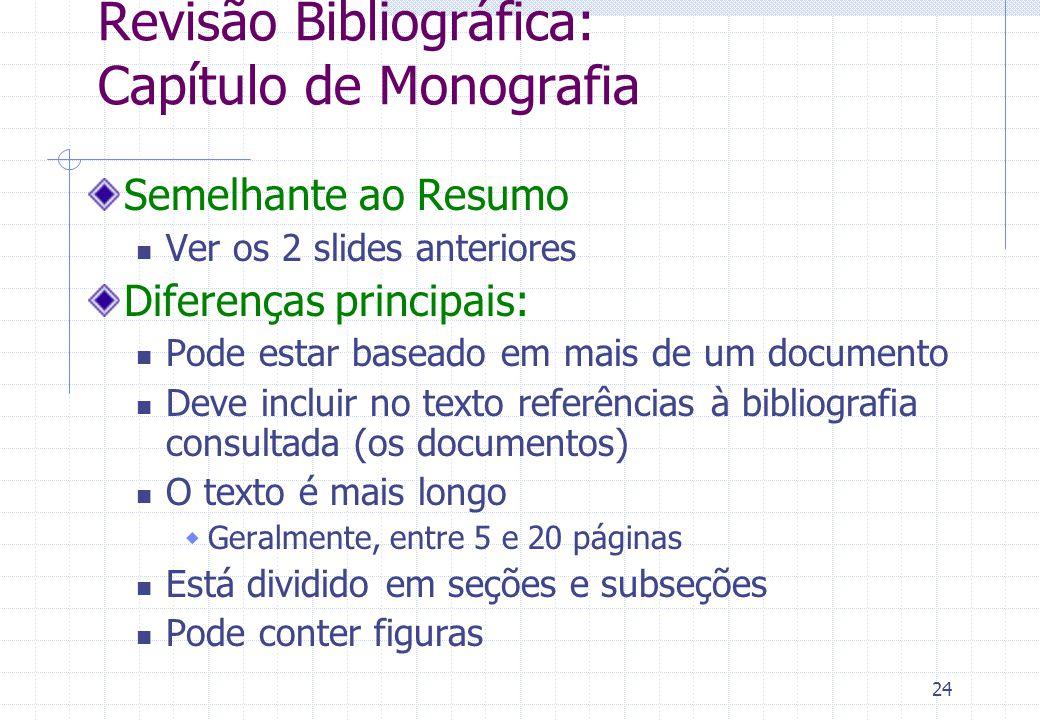Revisão Bibliográfica: Capítulo de Monografia