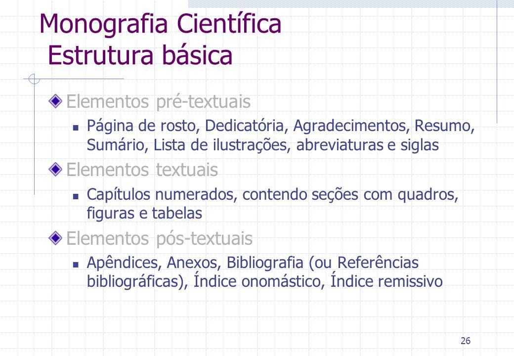 Monografia Científica Estrutura básica