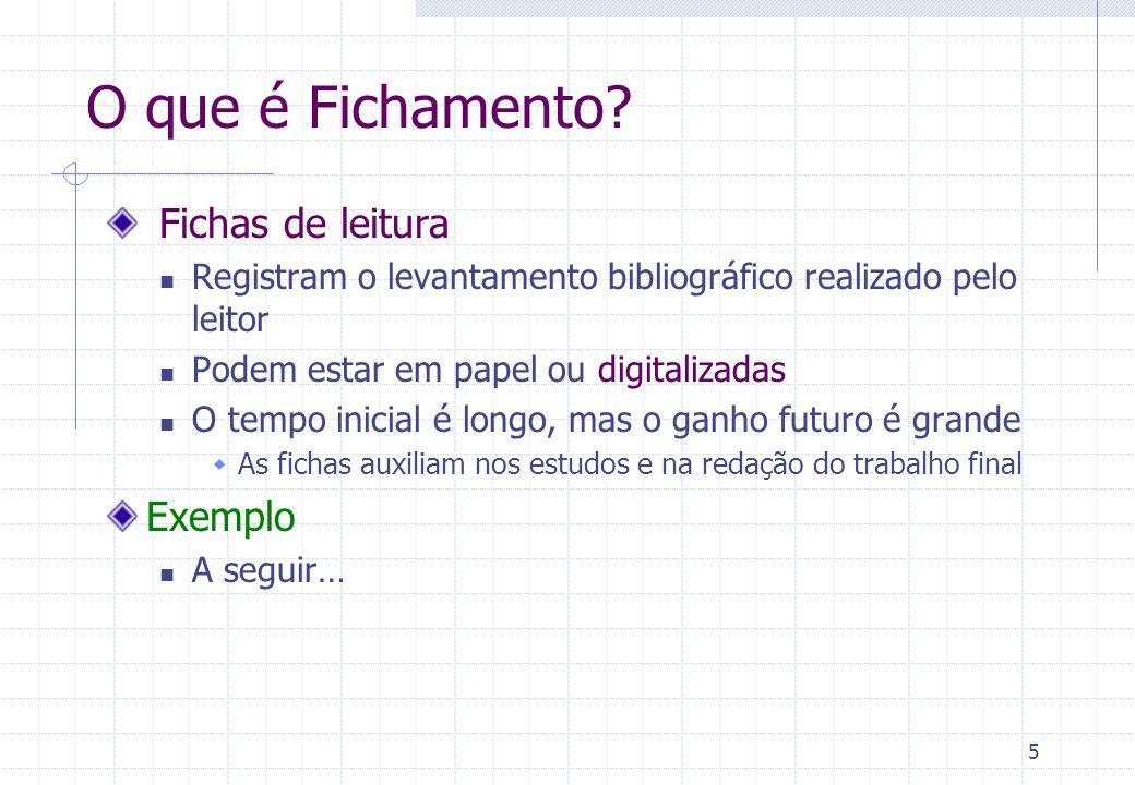 O que é Fichamento Fichas de leitura Exemplo
