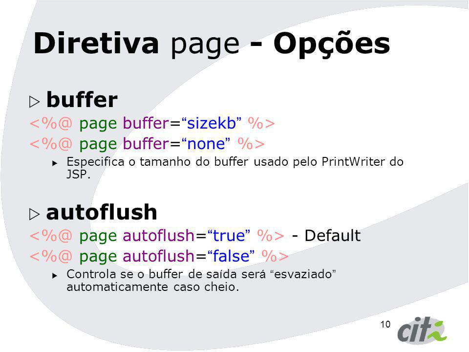 Diretiva page - Opções buffer autoflush