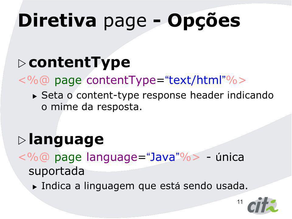 Diretiva page - Opções contentType language