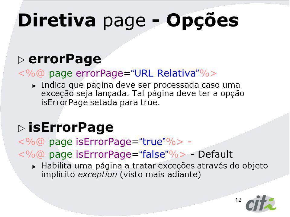 Diretiva page - Opções errorPage isErrorPage