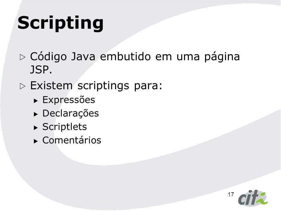Scripting Código Java embutido em uma página JSP.