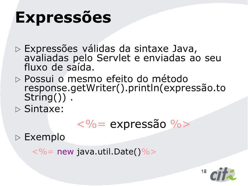 Expressões <%= new java.util.Date()%>