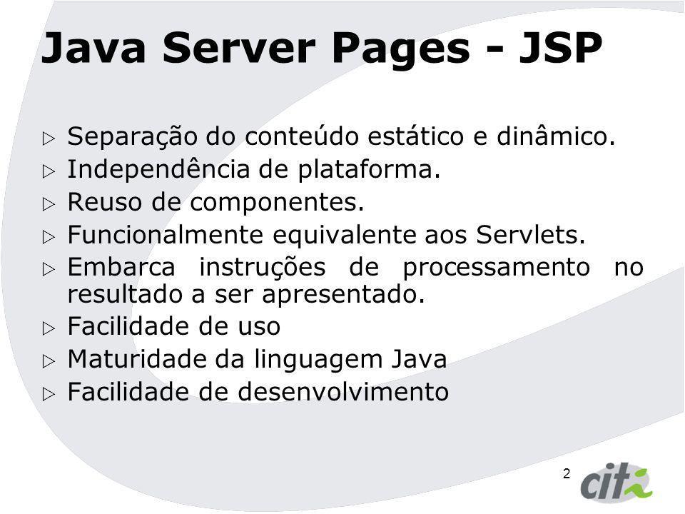 Java Server Pages - JSP Separação do conteúdo estático e dinâmico.