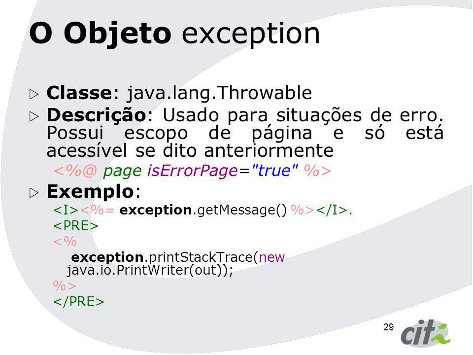 O Objeto exception Classe: java.lang.Throwable
